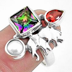 925 silver 5.75cts multi color rainbow topaz garnet elephant ring size 8 p42904