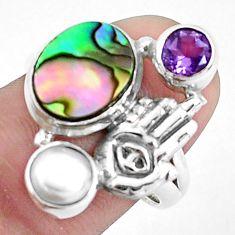 925 silver natural abalone paua seashell hand of god hamsa ring size 7.5 p42858