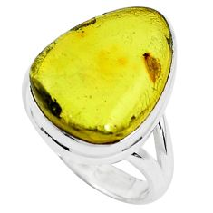 925 silver 11.13cts natural amber from colombia solitaire ring size 7 p46927