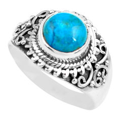 925 silver 3.36cts natural apatite (madagascar) solitaire ring size 7.5 p71616