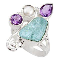 925 silver 7.84cts natural aqua aquamarine rough amethyst ring size 7 p90197