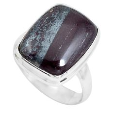 925 silver 10.02cts natural black ancestralite solitaire ring size 8 p61484
