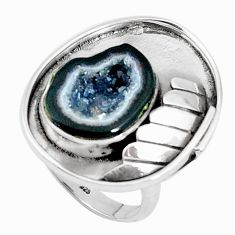 925 silver 6.92cts natural black geode druzy solitaire ring size 8.5 p49610