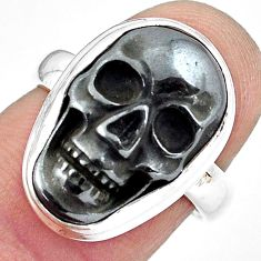 925 silver 12.31cts natural black hematite skull solitaire ring size 6.5 p88249