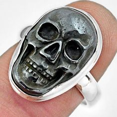 925 silver 12.31cts natural black hematite skull solitaire ring size 7 p88253
