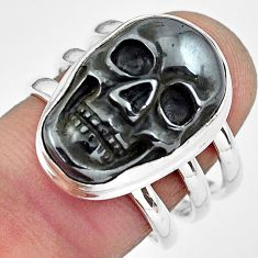 925 silver 12.85cts natural black hematite skull solitaire ring size 7.5 p88257