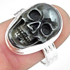 925 silver 10.53cts natural black hematite skull solitaire ring size 8 p88260