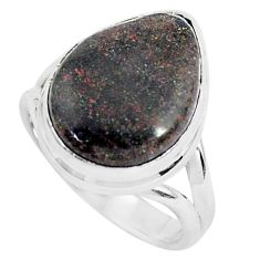 925 silver 10.24cts natural black honduran matrix opal pear ring size 7.5 p46665