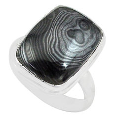 925 silver 13.77cts natural black psilomelane solitaire ring size 7 p80515