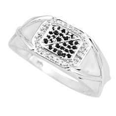 925 silver 2.19cts natural black sapphire white topaz mens ring size 11.5 c3805