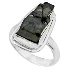 925 silver 12.03cts natural black shungite fancy solitaire ring size 8.5 p79040