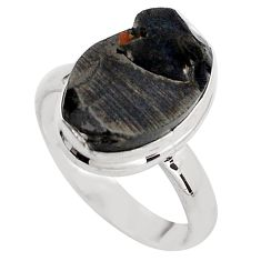925 silver 6.70cts natural black shungite solitaire ring jewelry size 8 p88932