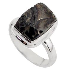 925 silver 5.82cts natural black shungite solitaire ring jewelry size 8 p88935