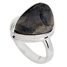 925 silver 7.60cts natural black shungite solitaire ring jewelry size 7 p88938