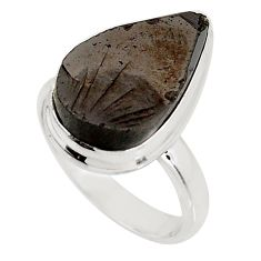 925 silver 7.53cts natural black shungite solitaire ring jewelry size 7.5 p92405