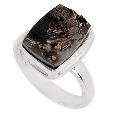 925 silver 5.63cts natural black shungite solitaire ring jewelry size 7.5 p92407