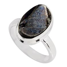 925 silver 6.27cts natural black shungite solitaire ring jewelry size 7 p92418