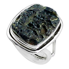 925 silver 13.77cts natural black tektite solitaire ring jewelry size 7 p46049