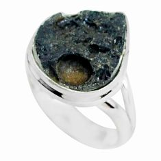925 silver 12.58cts natural black tektite solitaire ring jewelry size 8.5 p46054