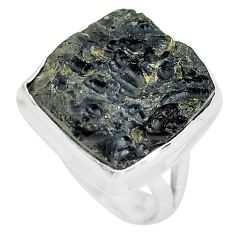 925 silver 13.26cts natural black tektite solitaire ring jewelry size 7.5 p61444