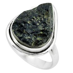 925 silver 12.07cts natural black tektite solitaire ring jewelry size 9 p61456