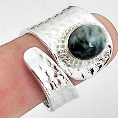 925 silver 4.21cts natural black toad eye oval adjustable ring size 8.5 p57190
