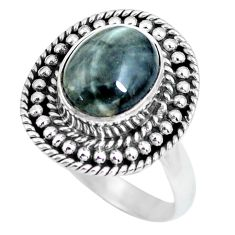 925 silver 4.02cts natural black toad eye solitaire ring jewelry size 8.5 p63178
