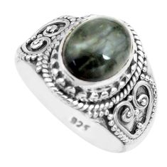 925 silver 4.22cts natural black toad eye solitaire ring jewelry size 8 p71751