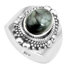 925 silver 4.21cts natural black toad eye solitaire ring jewelry size 8.5 p71759