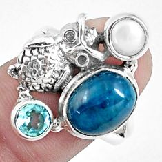 925 silver 6.80cts natural blue apatite (madagascar) owl ring size 8.5 p42708