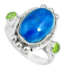 925 silver 8.23cts natural blue apatite (madagascar) ring size 8.5 p69896