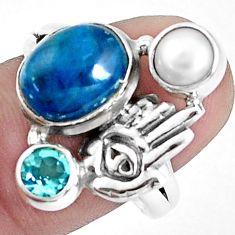 925 silver 5.18cts natural blue apatite hand of god hamsa ring size 9 p42719