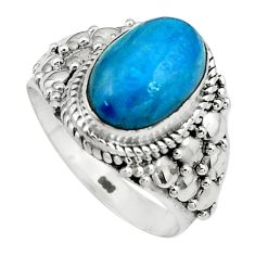 925 silver 4.50cts natural blue apatite oval solitaire ring size 8.5 p80944