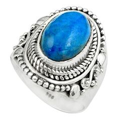 925 silver 4.38cts natural blue apatite oval solitaire ring size 6.5 p80951