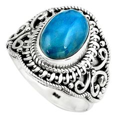 925 silver 4.35cts natural blue apatite oval solitaire ring size 8.5 p80960