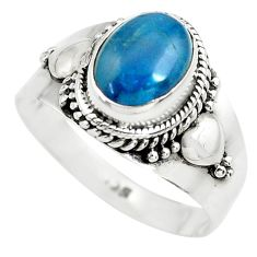 925 silver 3.02cts natural blue apatite solitaire ring jewelry size 8.5 p71872