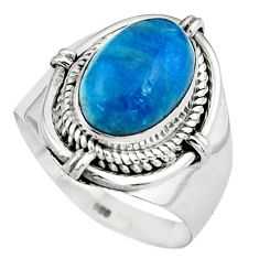 925 silver 4.70cts natural blue apatite solitaire ring jewelry size 8.5 p80955