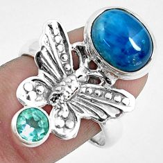 925 silver 5.97cts natural blue apatite topaz butterfly ring size 8.5 p42711
