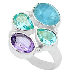 Clearance Sale- 925 silver 7.84cts natural blue aquamarine amethyst topaz ring size 6.5 d32264