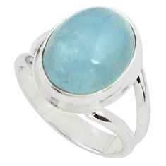925 silver 7.83cts natural blue aquamarine fancy solitaire ring size 7.5 p77817