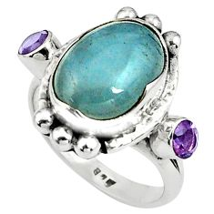 925 silver 8.42cts natural blue aquamarine oval amethyst ring size 7.5 p79007