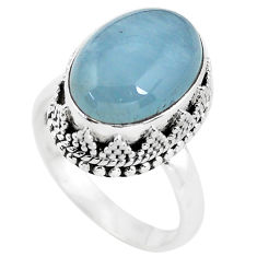 925 silver 6.74cts natural blue aquamarine oval solitaire ring size 7.5 p56593