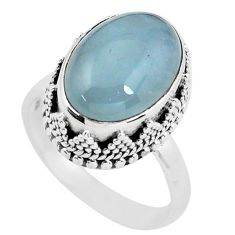 925 silver 7.33cts natural blue aquamarine oval solitaire ring size 8 p56595