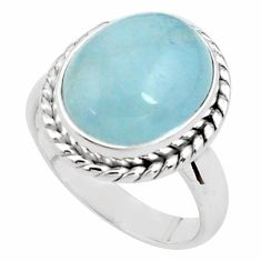925 silver 8.15cts natural blue aquamarine oval solitaire ring size 7.5 p77800