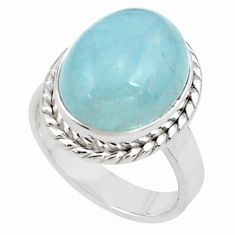 925 silver 10.53cts natural blue aquamarine oval solitaire ring size 7.5 p77810