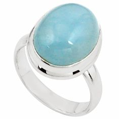 925 silver 8.41cts natural blue aquamarine oval solitaire ring size 7.5 p78308