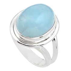 925 silver 9.95cts natural blue aquamarine oval solitaire ring size 6.5 p88440