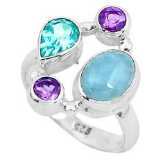 925 silver 6.54cts natural blue aquamarine purple amethyst ring size 7 p52460