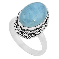 925 silver 6.54cts natural blue aquamarine solitaire ring jewelry size 8 p56584