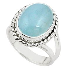 925 silver 7.83cts natural blue aquamarine solitaire ring jewelry size 7 p78313